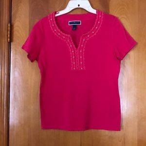 Karen Scott short sleeve shirt. Petite M